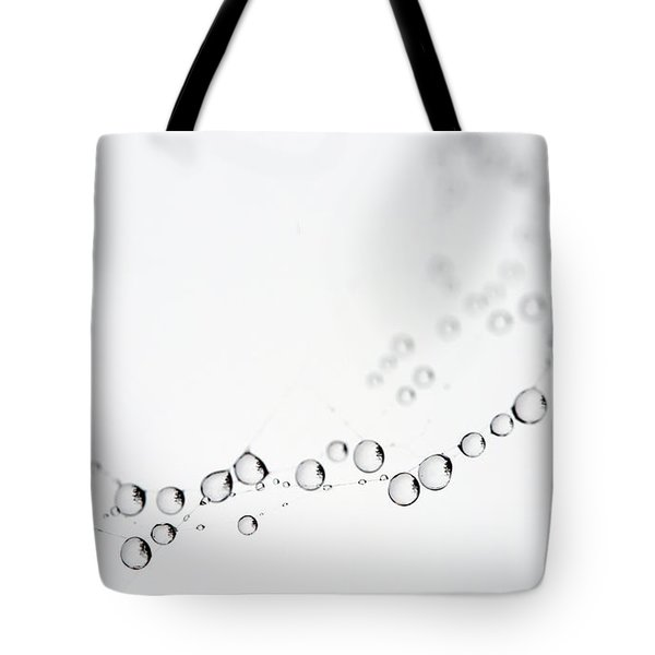 Tote Bag featuring the photograph Web Water Baubles by Rebecca Cozart