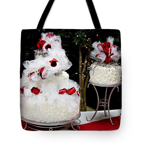 Wedding Cake And Red Roses Tote Bag
