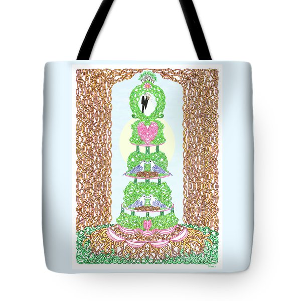 Tote Bag featuring the painting Wedding Cake With Doves by Lise Winne