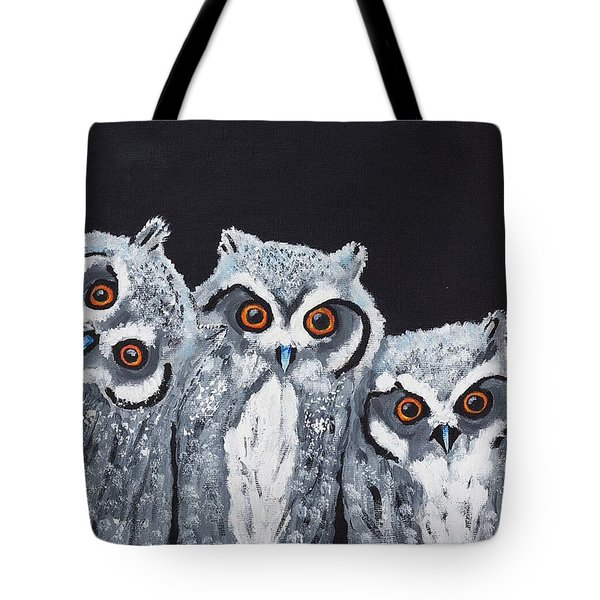 Tote Bag featuring the painting Wee Owls by Scott Wilmot