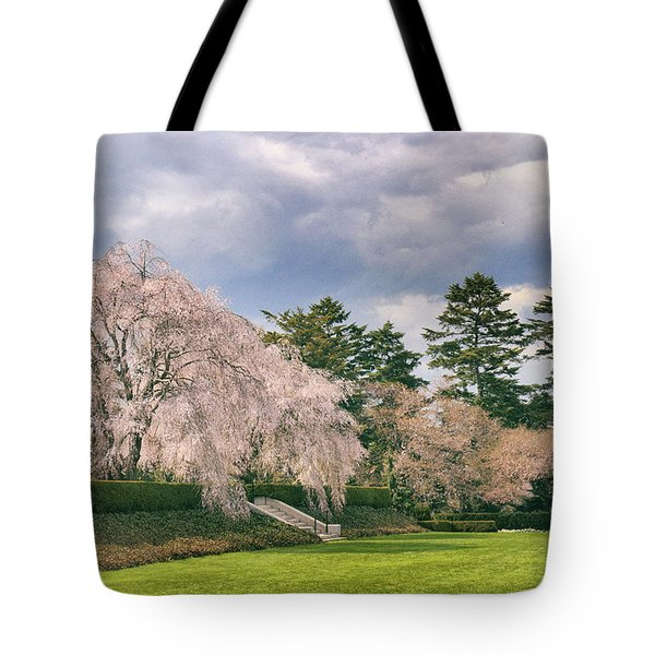 Tote Bag featuring the photograph Weeping Cherry In Bloom by Jessica Jenney
