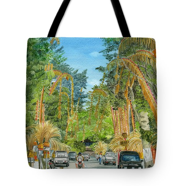 Tote Bag featuring the painting Weeping Janur Bali Indonesia by Melly Terpening