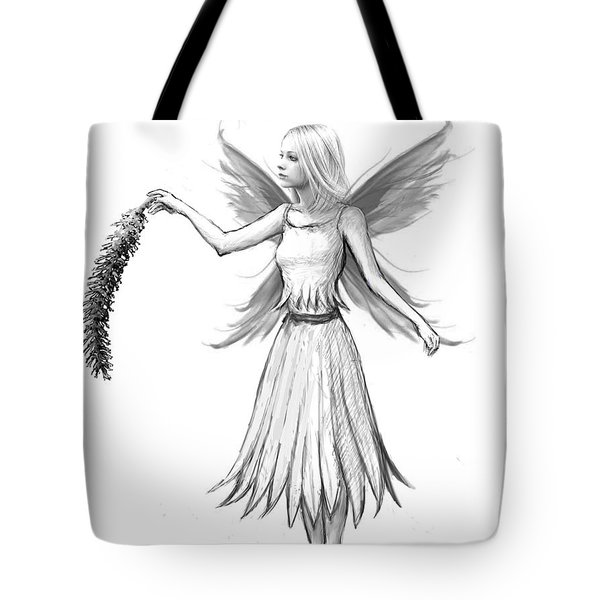 Weeping Willow Fairy With Catkin B And W Tote Bag