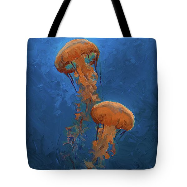 Tote Bag featuring the painting Weightless - Pacific Nettle Jellyfish Study  by Karen Whitworth