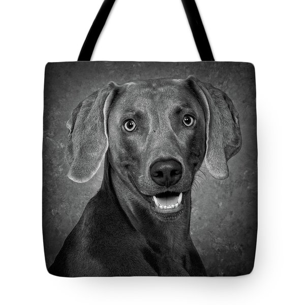 Weimaraner In Black And White Tote Bag by Greg Mimbs
