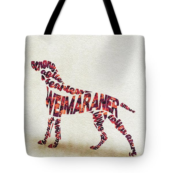 Tote Bag featuring the painting Weimaraner Watercolor Painting / Typographic Art by Inspirowl Design