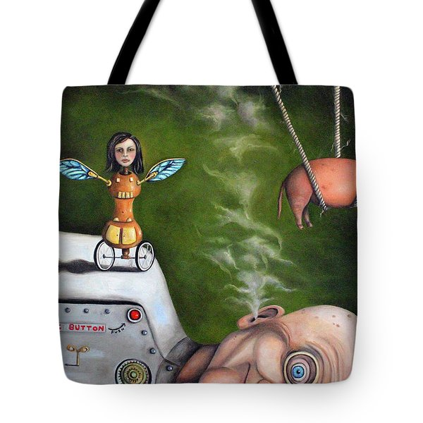 Weird Science-the Robot Factory Tote Bag by Leah Saulnier The Painting Maniac