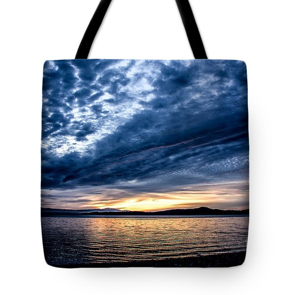 Welcome Beach Stormy Sky Tote Bag by Elaine Hunter