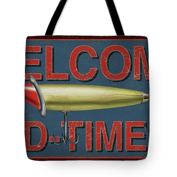 Welcome Fishing Sign Tote Bag