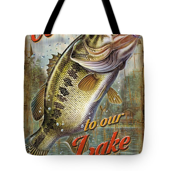 Welcome Lake House Sign Tote Bag by Jon Q Wright