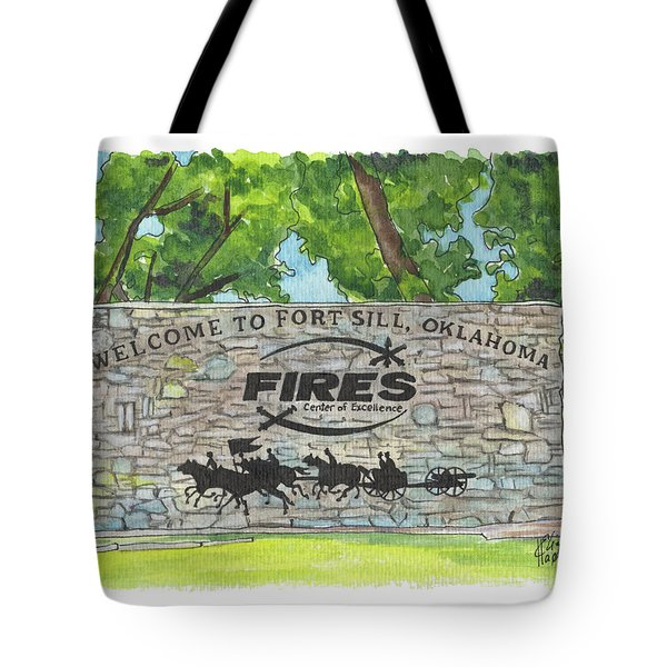 Tote Bag featuring the painting Welcome Sign Fort Sill by Betsy Hackett