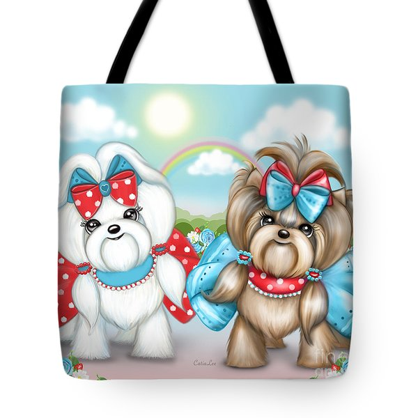 Tote Bag featuring the painting Welcome Spring Maltese And Yorkie by Catia Lee
