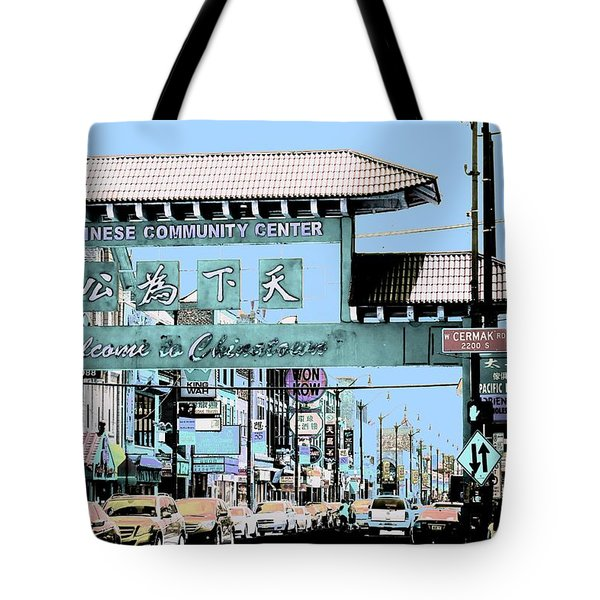 Tote Bag featuring the photograph Welcome To Chinatown Sign Blue by Marianne Dow