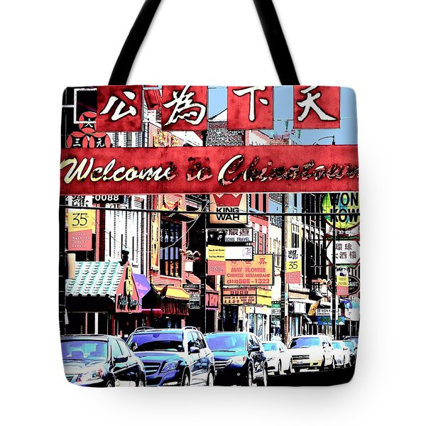 Tote Bag featuring the photograph Welcome To Chinatown Sign Red by Marianne Dow