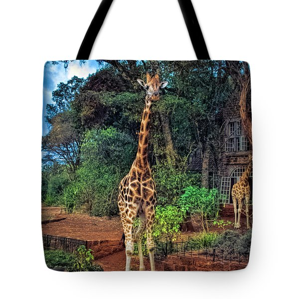 Welcome To Giraffe Manor Tote Bag by Karen Lewis