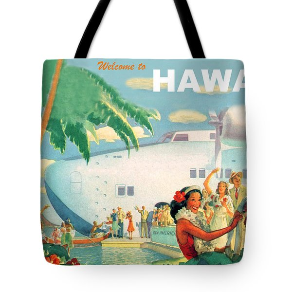 Welcome To Hawaii, Vintage Airline Poster Tote Bag