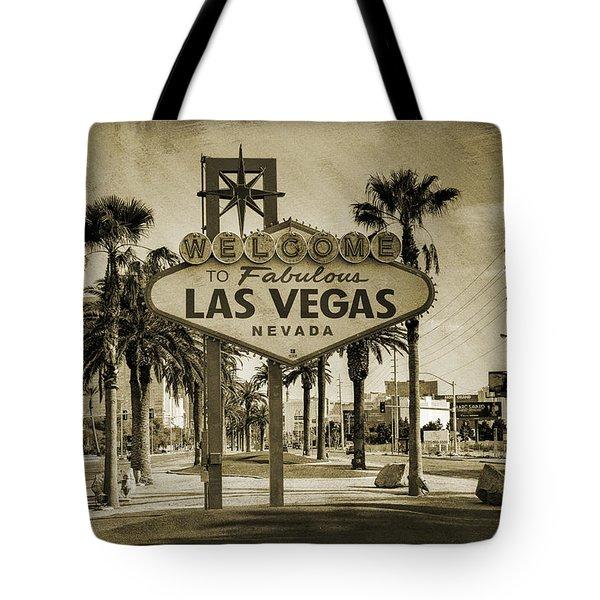 Welcome To Las Vegas Series Sepia Grunge Tote Bag