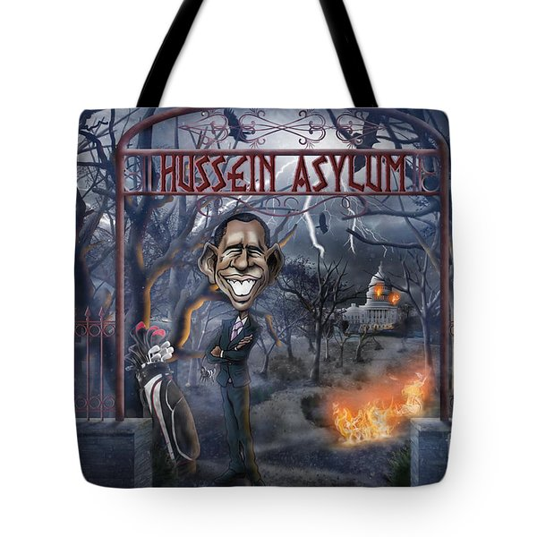 Tote Bag featuring the drawing Welcome To The Hussein Asylum by Don Olea