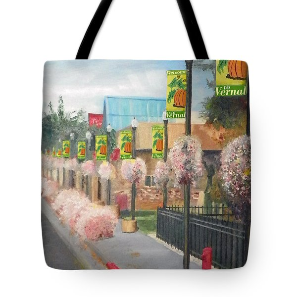 Welcome To Vernal Tote Bag by Sherril Porter