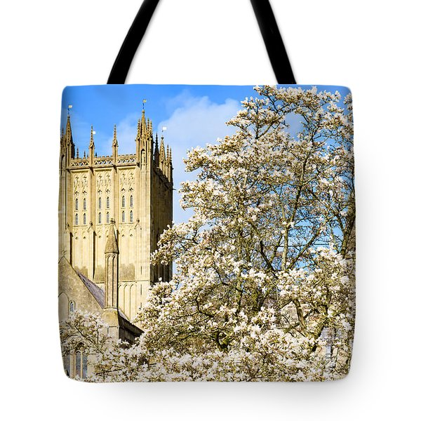 Wells Cathedral And Spring Blossom Tote Bag by Colin Rayner