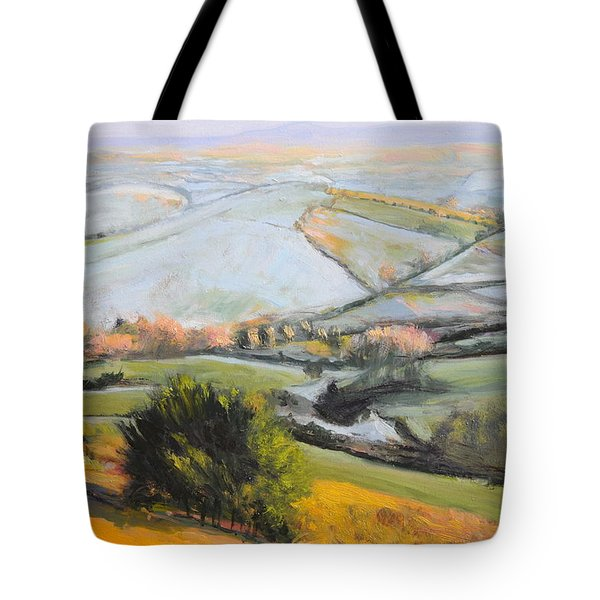 Tote Bag featuring the painting Welsh Landscape In Winter by Harry Robertson