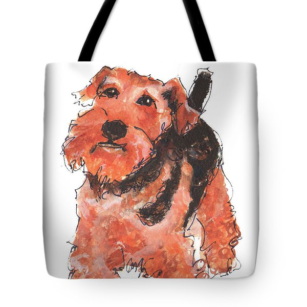 Welsh Terrier Or Schnauzer Watercolor Painting By Kmcelwaine Tote Bag