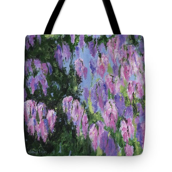 Tote Bag featuring the painting Wendy's Wisteria by Jamie Frier