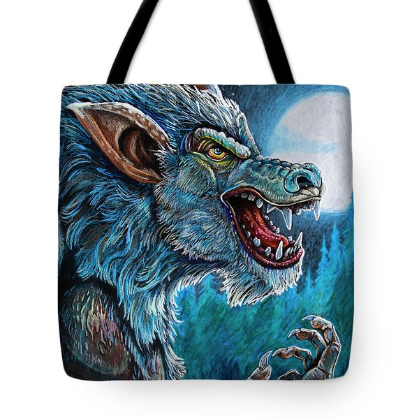Tote Bag featuring the drawing Werewolf by Aaron Spong