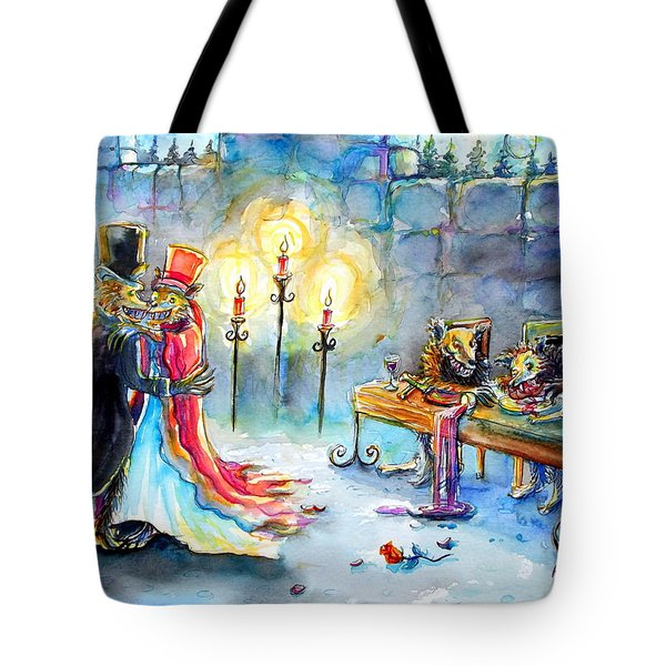Tote Bag featuring the painting Werewolf Romance by Heather Calderon