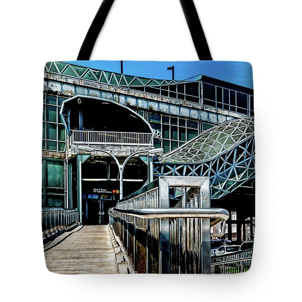 Tote Bag featuring the photograph West 8th Street New York Aquarium Subway Station by Chris Lord