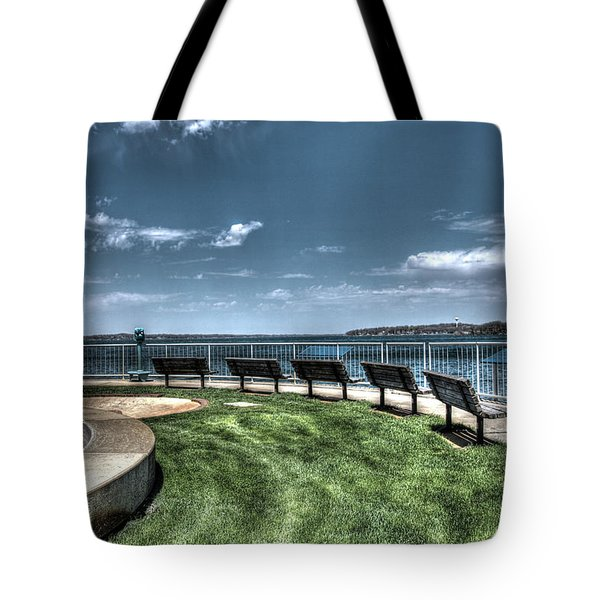 West Lake Okoboji Pier Tote Bag