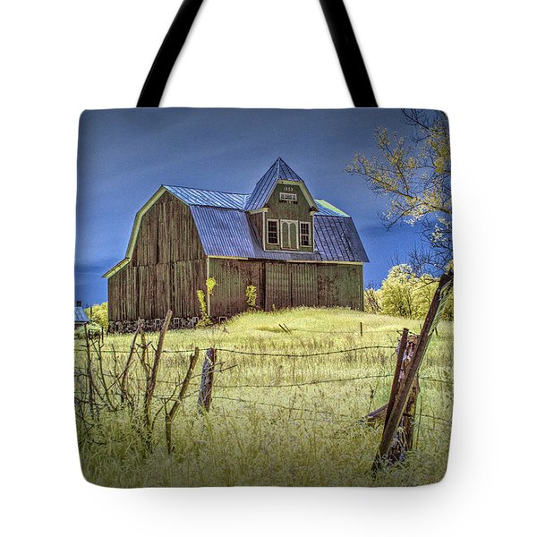 West Michigan Barn With Barb Wire Fence In Infrared Tote Bag