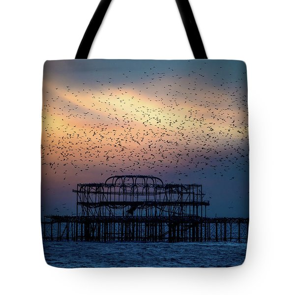Tote Bag featuring the photograph West Pier Murmuration by Chris Lord