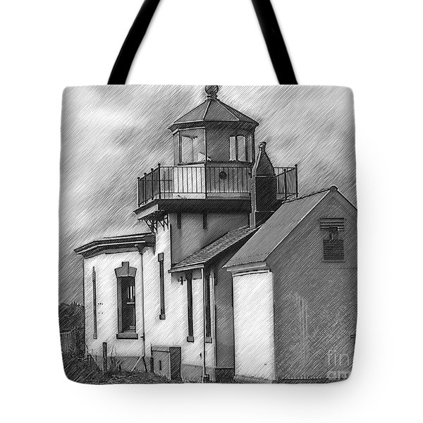 West Point Lighthouse Sketched Tote Bag