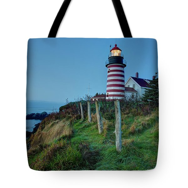 Tote Bag featuring the photograph West Quoddy Head Light by Joe Paul