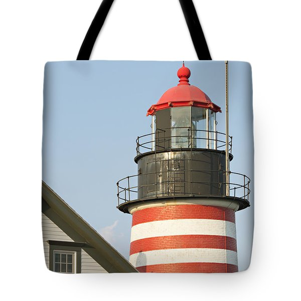 West Quoddy Head Lighthouse Tote Bag by Peter J Sucy