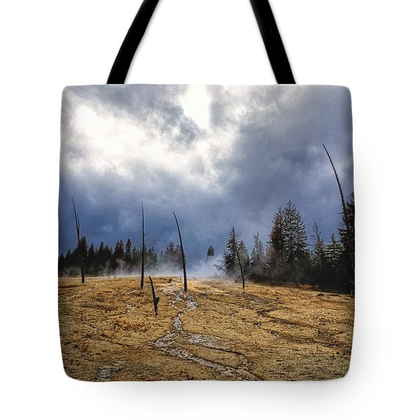 Tote Bag featuring the photograph West Thumb Geyser Basin   by Lars Lentz
