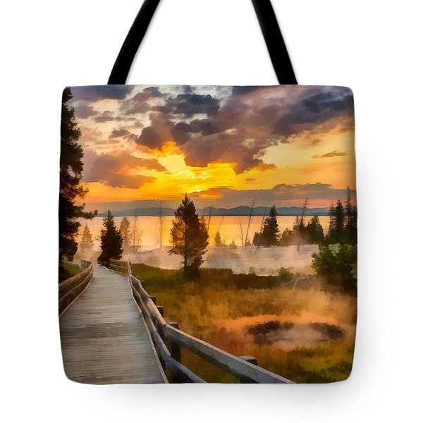 West Thumb Sunrise Tote Bag