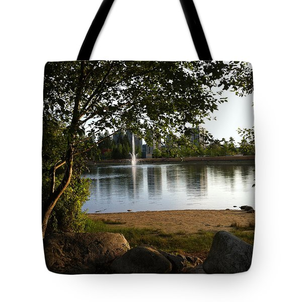 West View Of Lafarge Lake Tote Bag by Rod Jellison