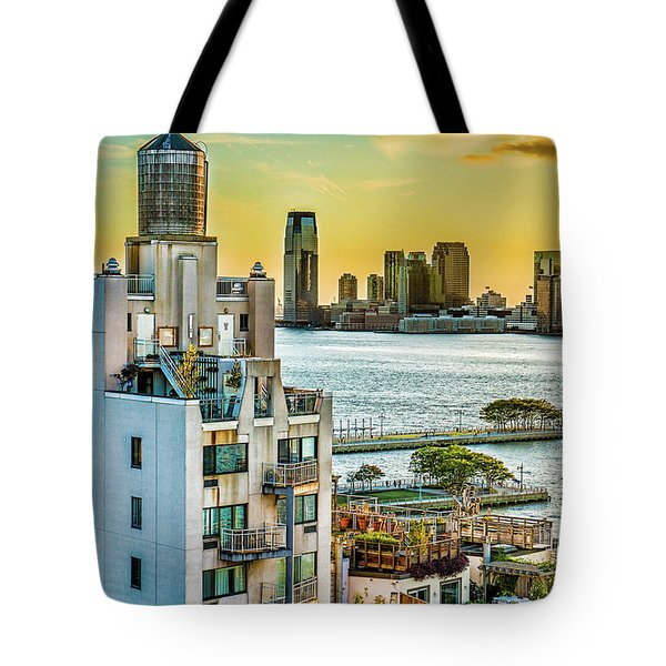 Tote Bag featuring the photograph West Village To Jersey City Sunset by Chris Lord