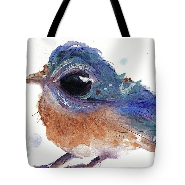 Tote Bag featuring the painting Western Bluebird by Dawn Derman