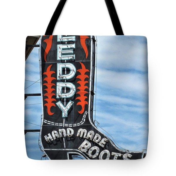 Tote Bag featuring the photograph Western Boot Sign by David and Carol Kelly