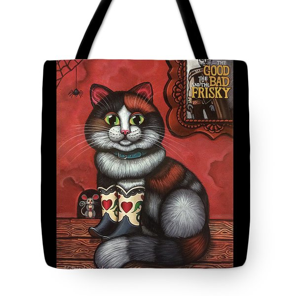 Western Boots Cat Painting Tote Bag