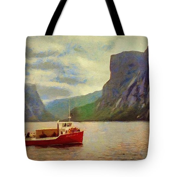 Tote Bag featuring the painting Western Brook Pond by Jeff Kolker