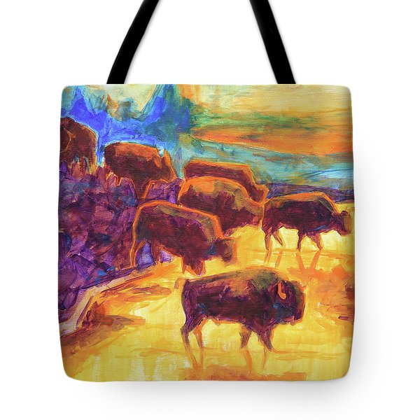 Western Buffalo Art Bison Creek Sunset Reflections Painting T Bertram Poole Tote Bag by Thomas Bertram POOLE