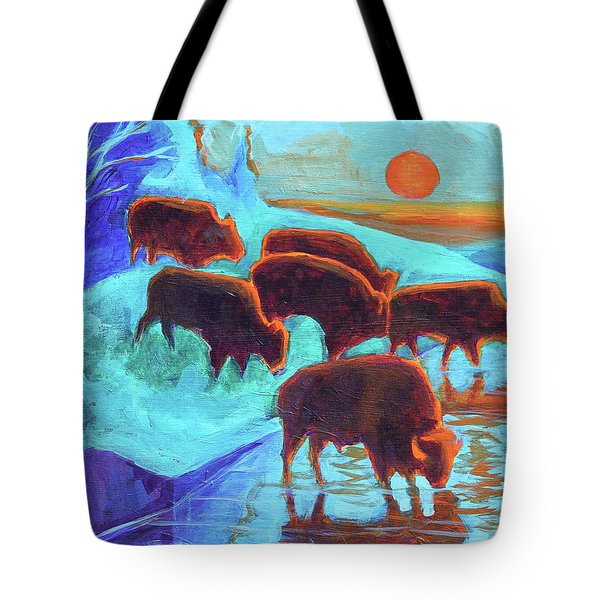 Western Buffalo Art Six Bison At Sunset Turquoise Painting Bertram Poole Tote Bag by Thomas Bertram POOLE