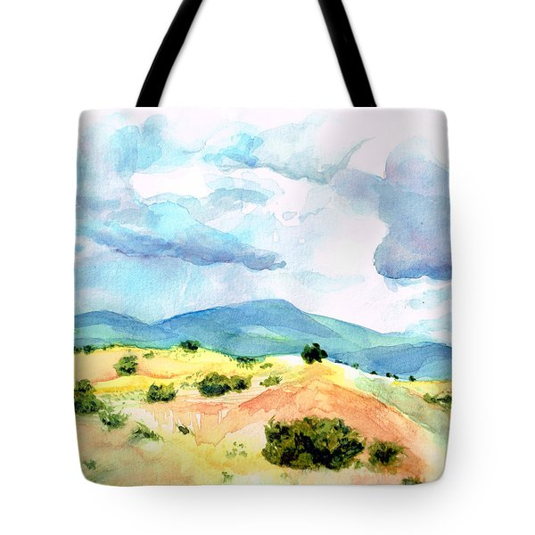 Tote Bag featuring the painting Western Landscape by Andrew Gillette
