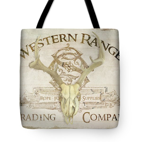 Tote Bag featuring the painting Western Range 3 Old West Deer Skull Wooden Sign Trading Company by Audrey Jeanne Roberts