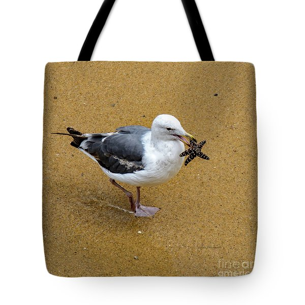Western Seagull Carrying A Starfish Tote Bag