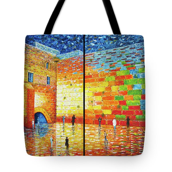Tote Bag featuring the painting Western Wall Jerusalem Wailing Wall Acrylic Painting 2 Panels by Georgeta Blanaru